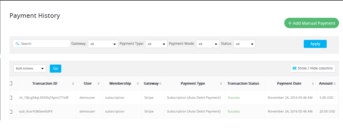 ARMember stripe-paymemt_history Settings ( Payment Gateways )