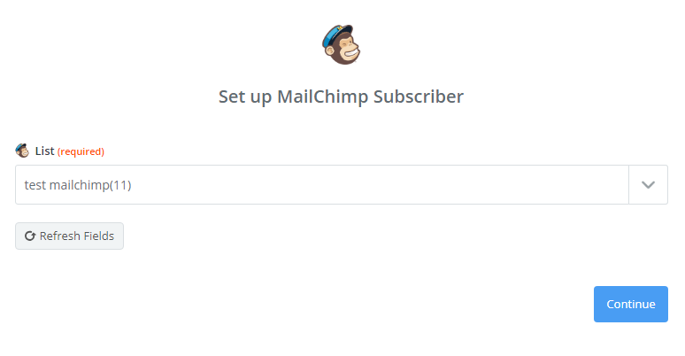 Select MailChimp List of Group