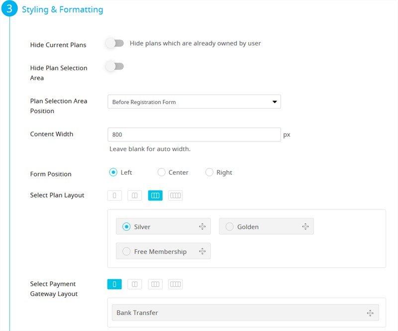 form styles free membership plugin