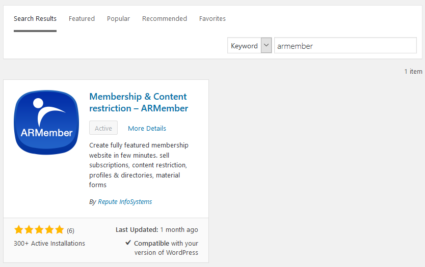 install armember lite wp membership plugin