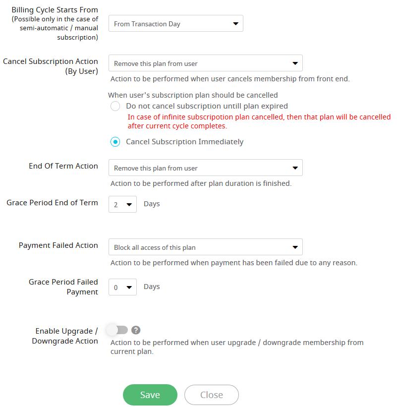 subscription plan settings 2