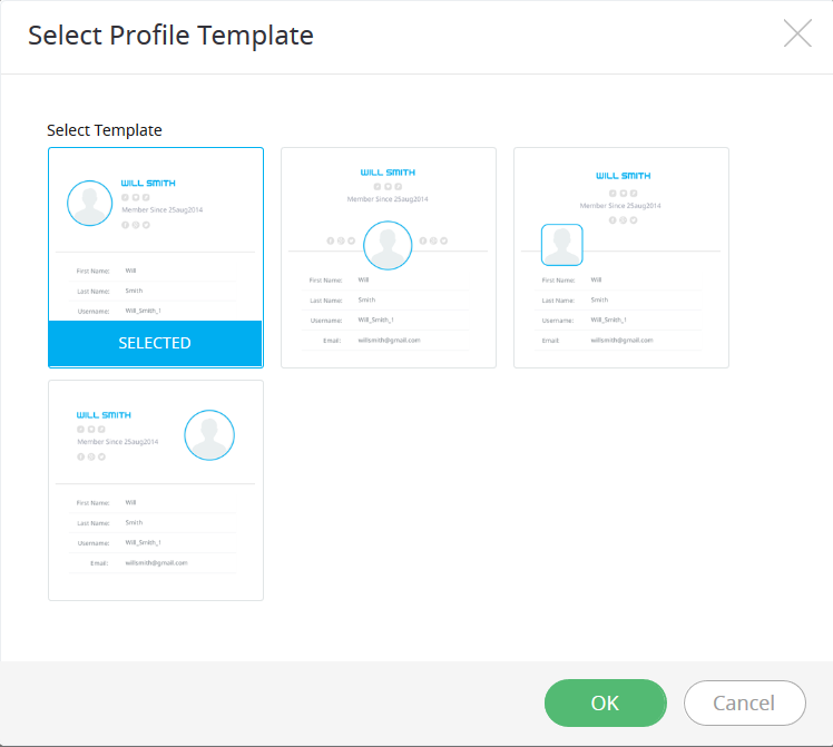 user profile templates