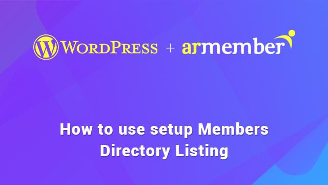 Setup Members Directory listing guide