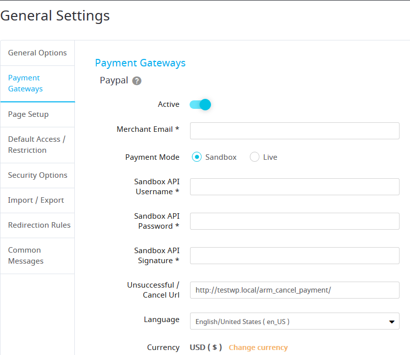 payment settings armember