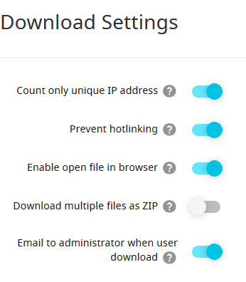 digital downloads settings