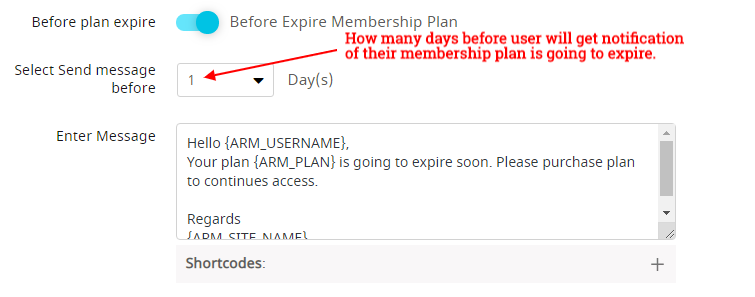 Notification before plan expire