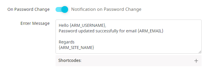 Notification on change password