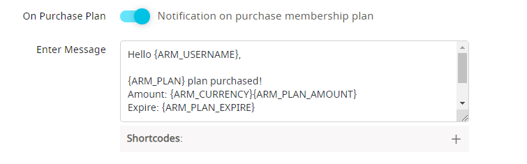 Notification on purchase plan