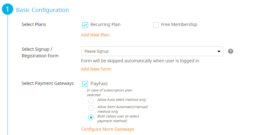 Configure Plan Screen