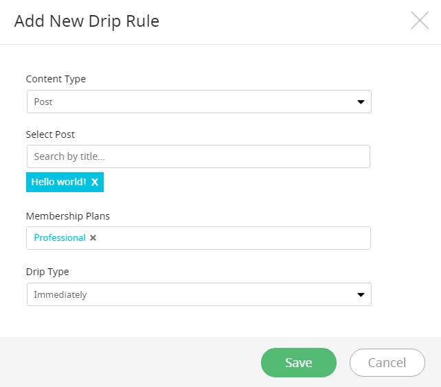Add New Drip Rule Post Type