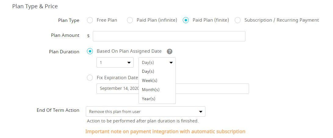 Paid Plan Finite