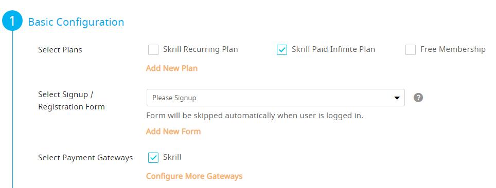 Configure Plan Screen