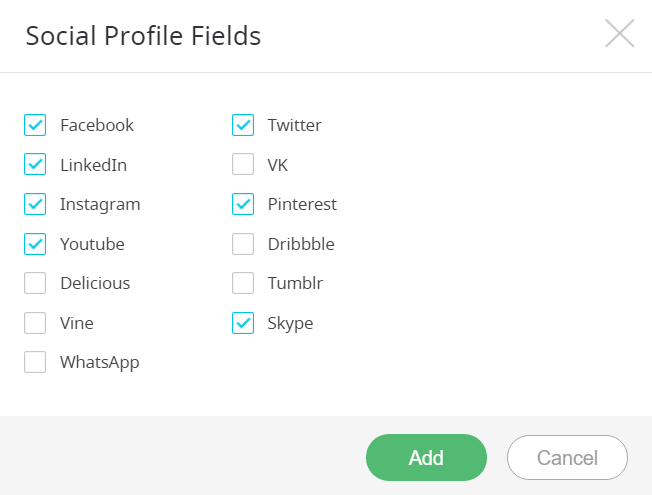 Social Profile Fields - Social media options-min