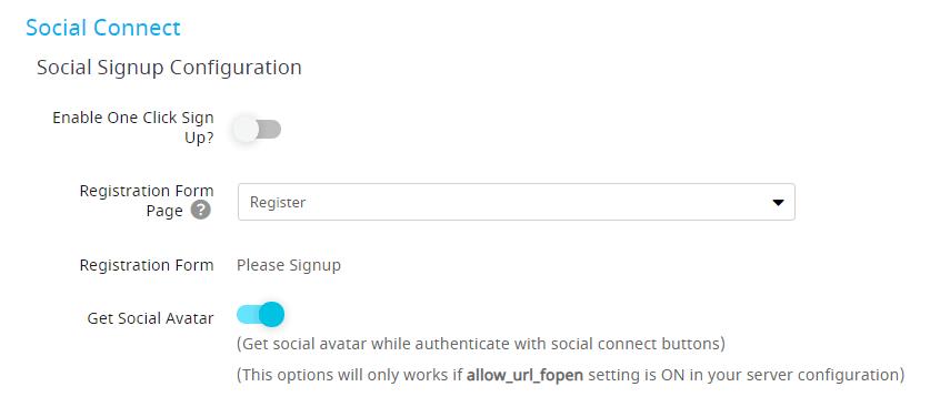 social connect - social signup configuration-min