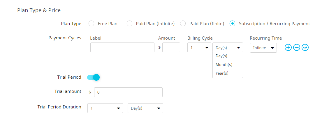 plan type and price