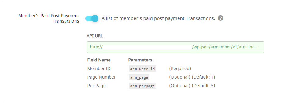API Service Member's Paid Post Payment Transactions