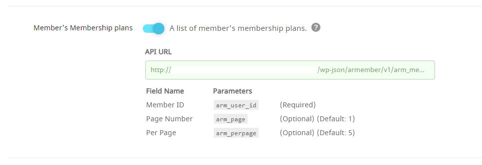 API Service Member's Membership Plans