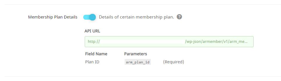 API Service Membership Plan Details